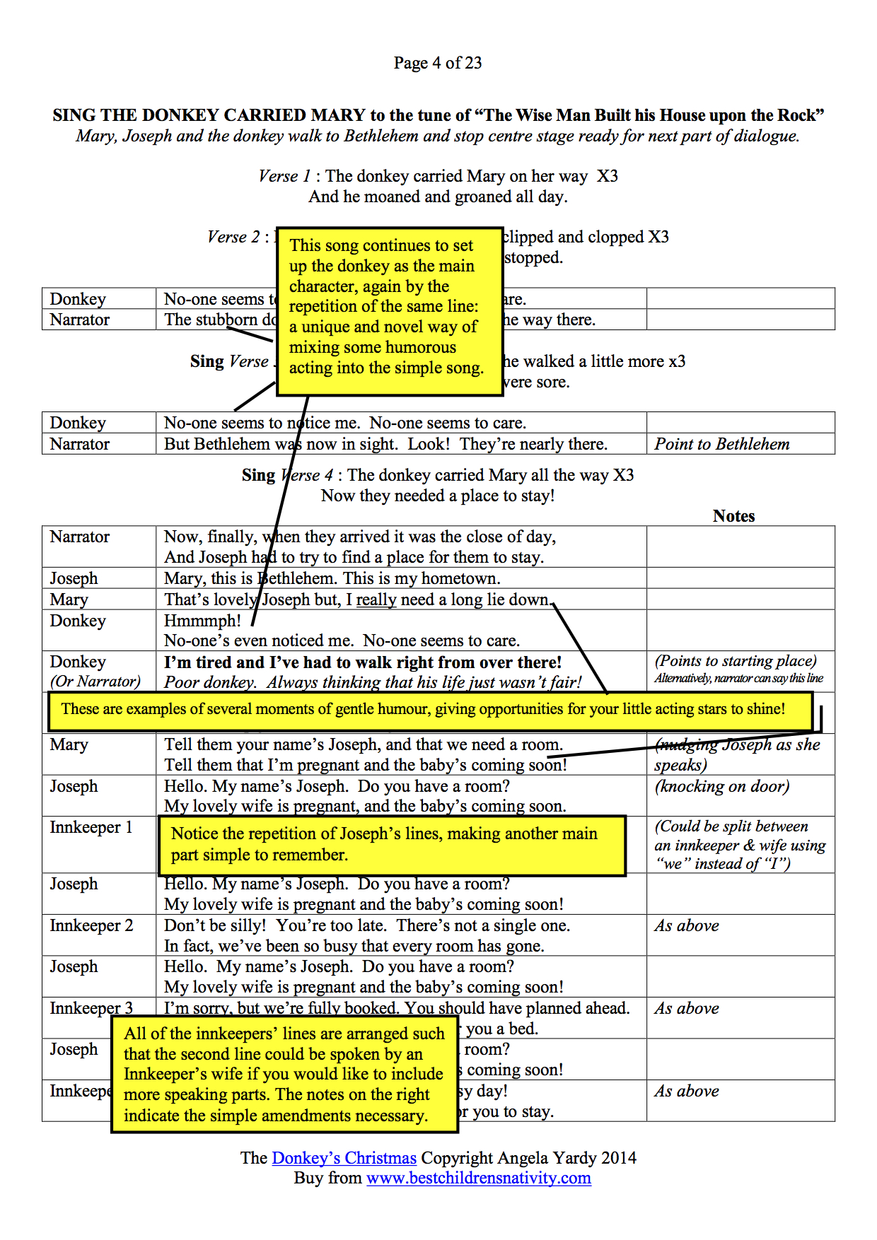 The Donkeys Christmas Play Page 4 Script Preview. English Worksheet - Free Printable Christmas Plays Church