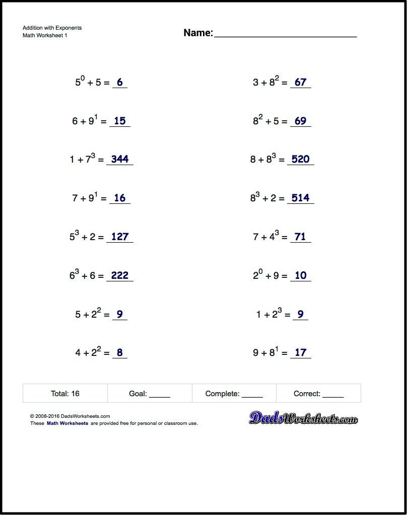 The Exponents Worksheets In This Section Provide Practice That - Free Printable Exponent Worksheets