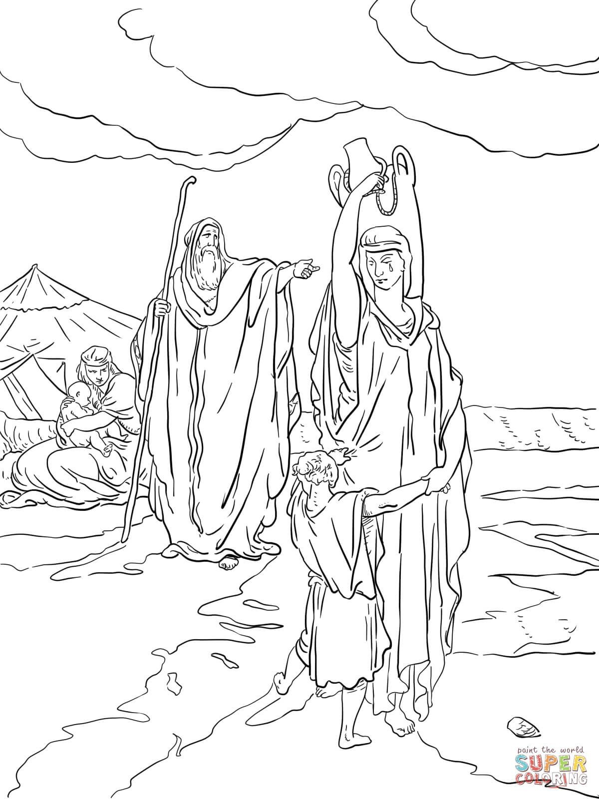 The Expulsion Of Hagar And Ishmael Coloring Page From Abraham - Free Printable Bible Characters Coloring Pages