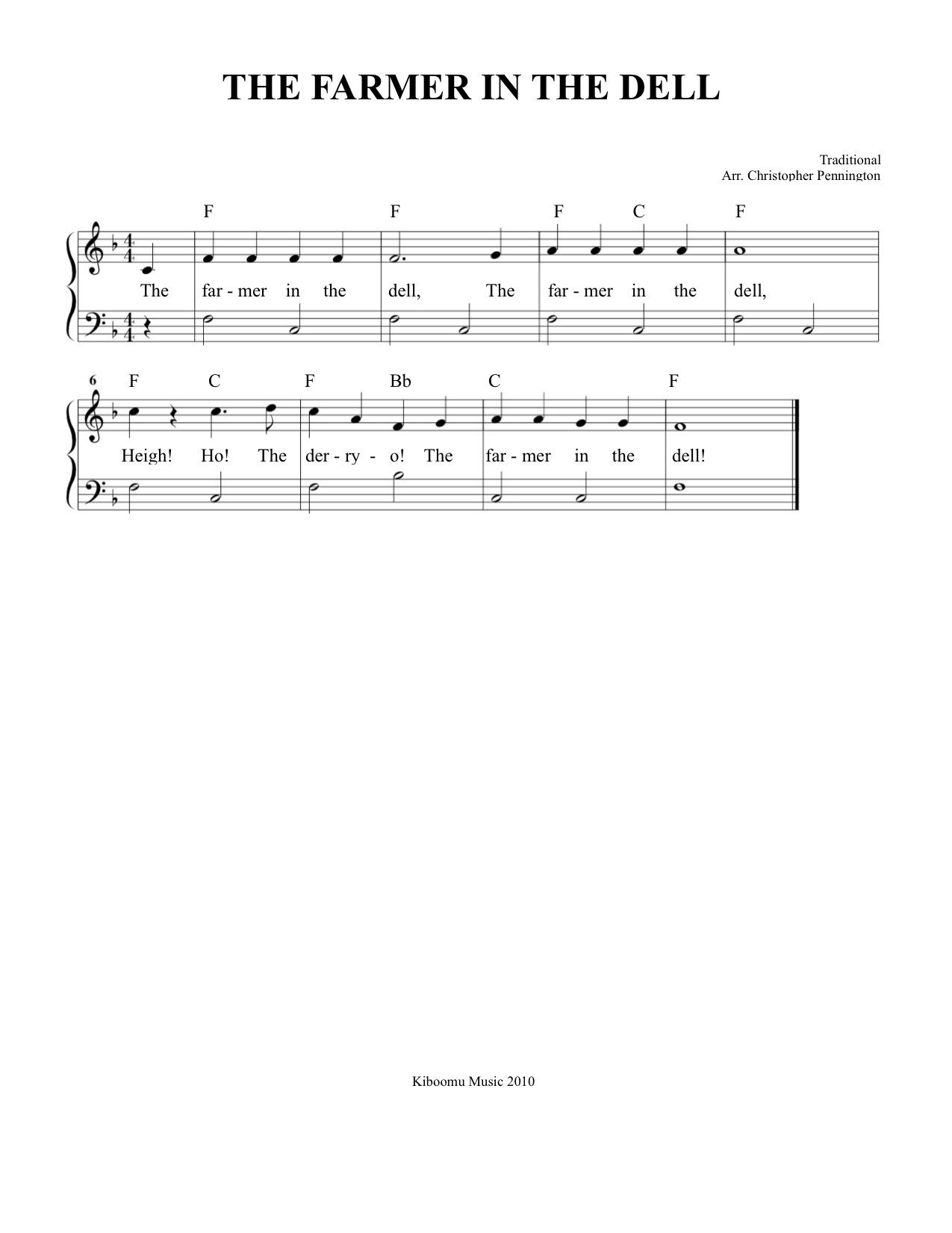 The Farmer In The Dell Sheet Music | Music To Sleep To | Music - Free Printable Sheet Music Lyrics
