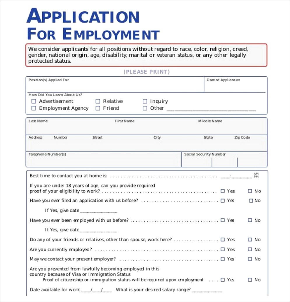 The Importance Of Employment Application Pdf - Free Job Application Form - Free Printable Job Application Form Pdf