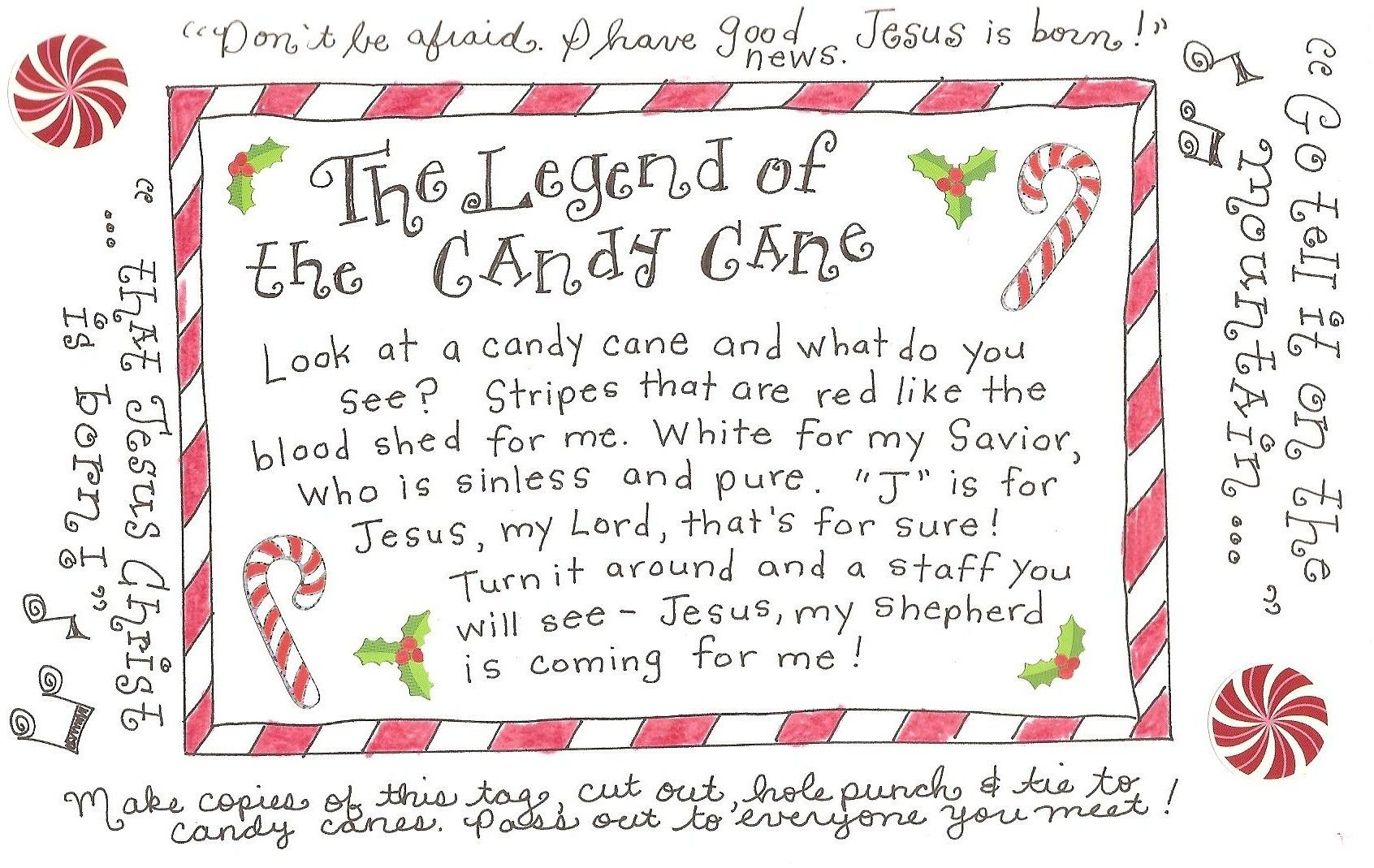 The Legend Of The Candy Cane - Free Printable Tag | Homeschool - Free Printable Candy Cane Poem