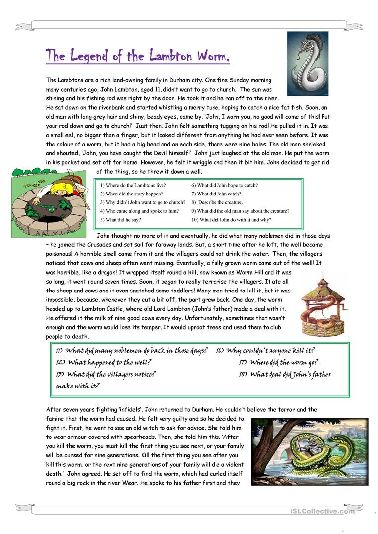 The Legend Of The Lambton Worm Worksheet - Free Esl Printable - Free Printable Worm Worksheets