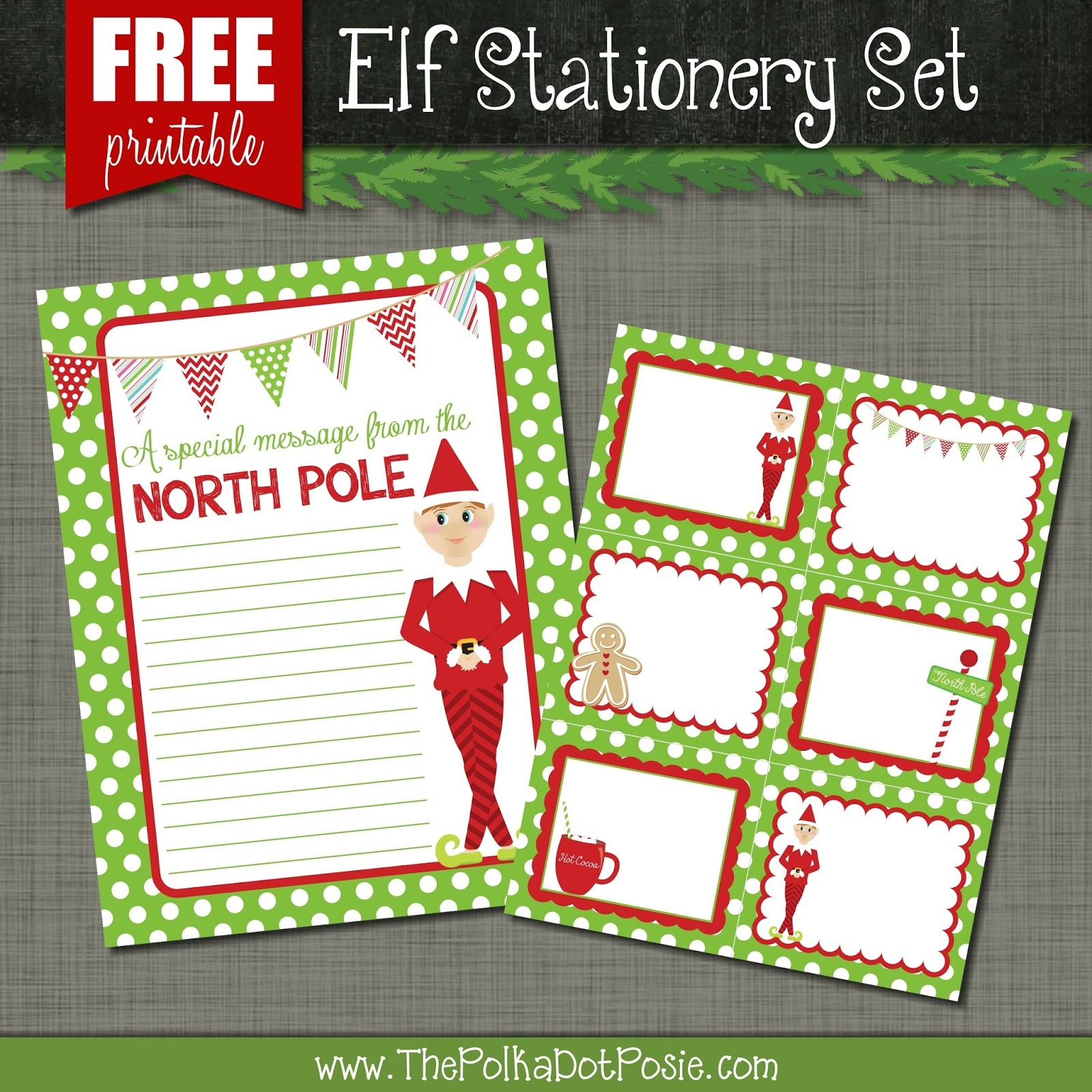 The Polka Dot Posie: Free Printables For Your Christmas Elf - North Pole Stationary Printable Free