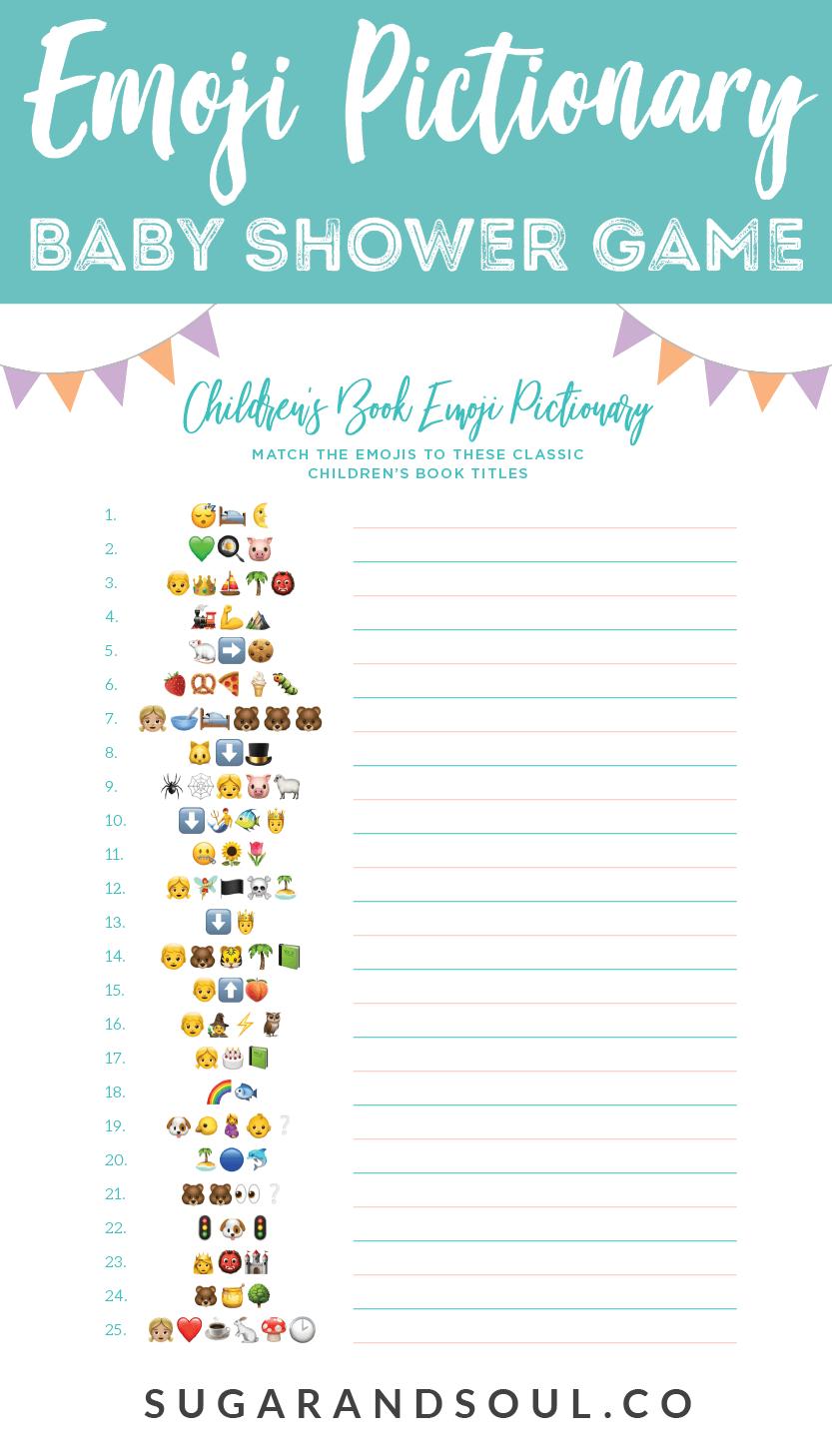 This Free Emoji Pictionary Baby Shower Game Printable Uses Emoji - Free Printable Baby Shower Games