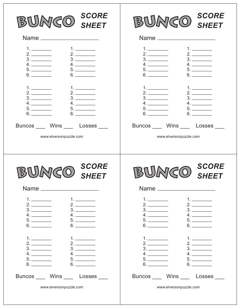 This Is The Bunco Score Sheet Download Page. You Can Free Download - Free Printable Halloween Bunco Score Sheets