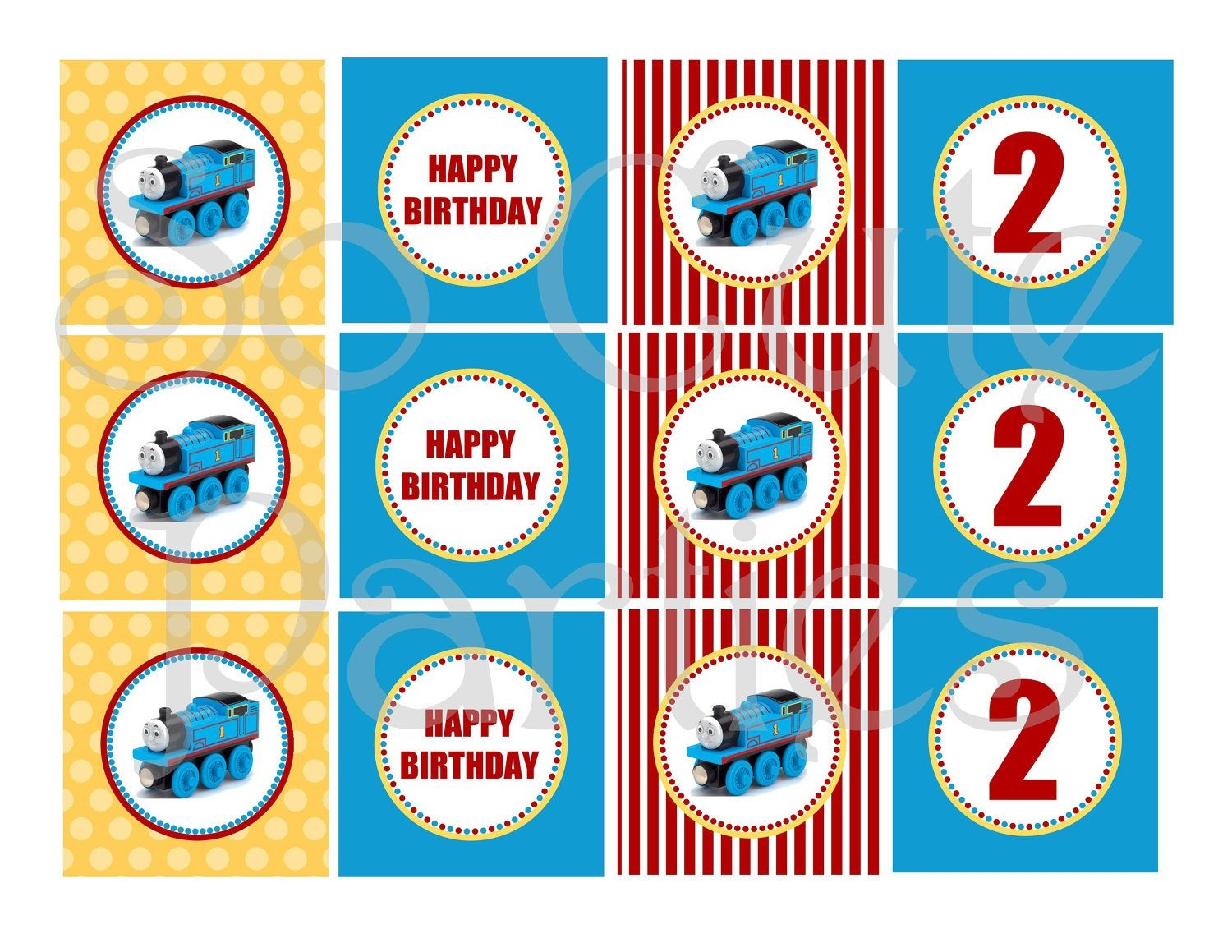 Thomas The Train Diy Printable Cupcake Toppers Blue Yellow And Red - Free Printable Train Cupcake Toppers