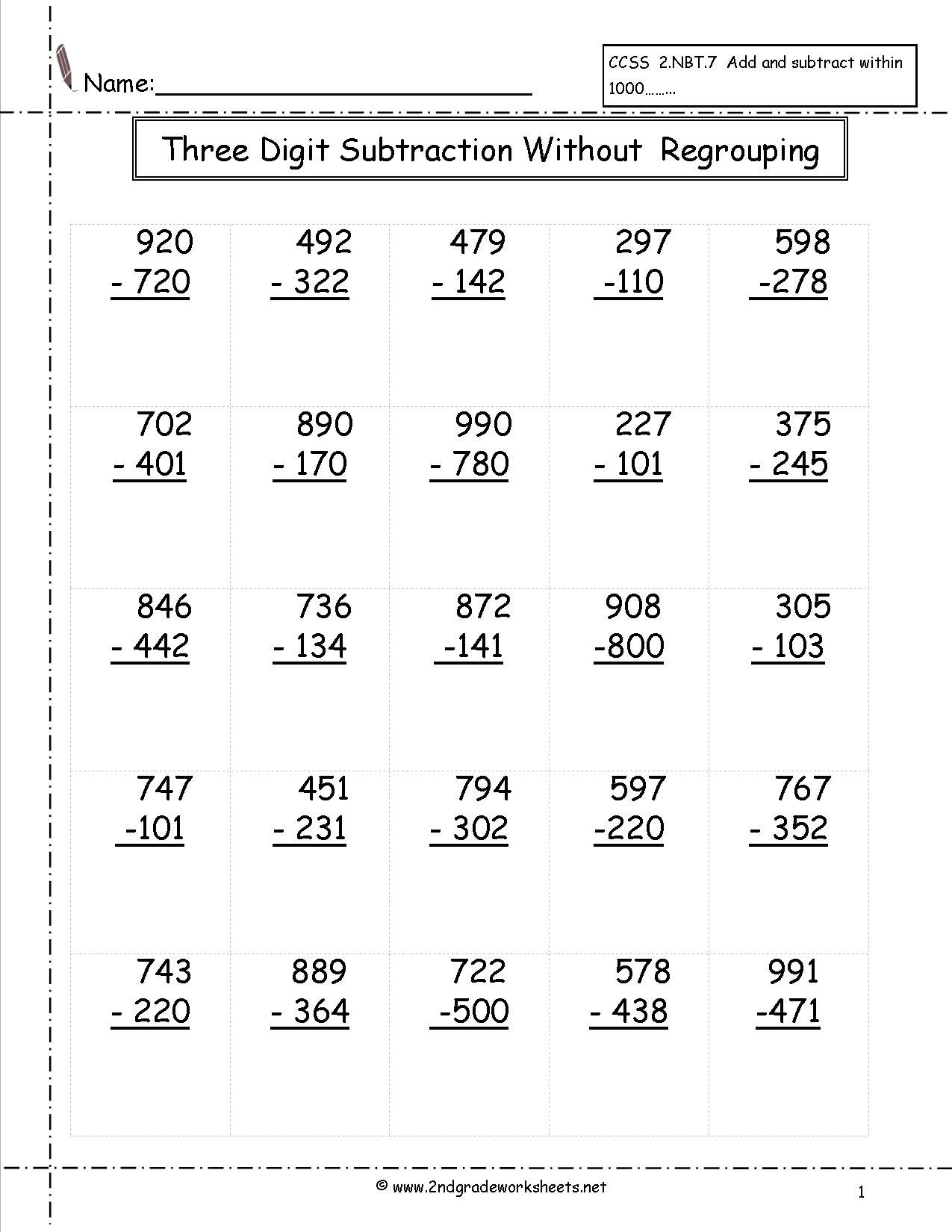 Three Digit Subtraction Worksheets - Free Printable 3 Digit Subtraction With Regrouping Worksheets