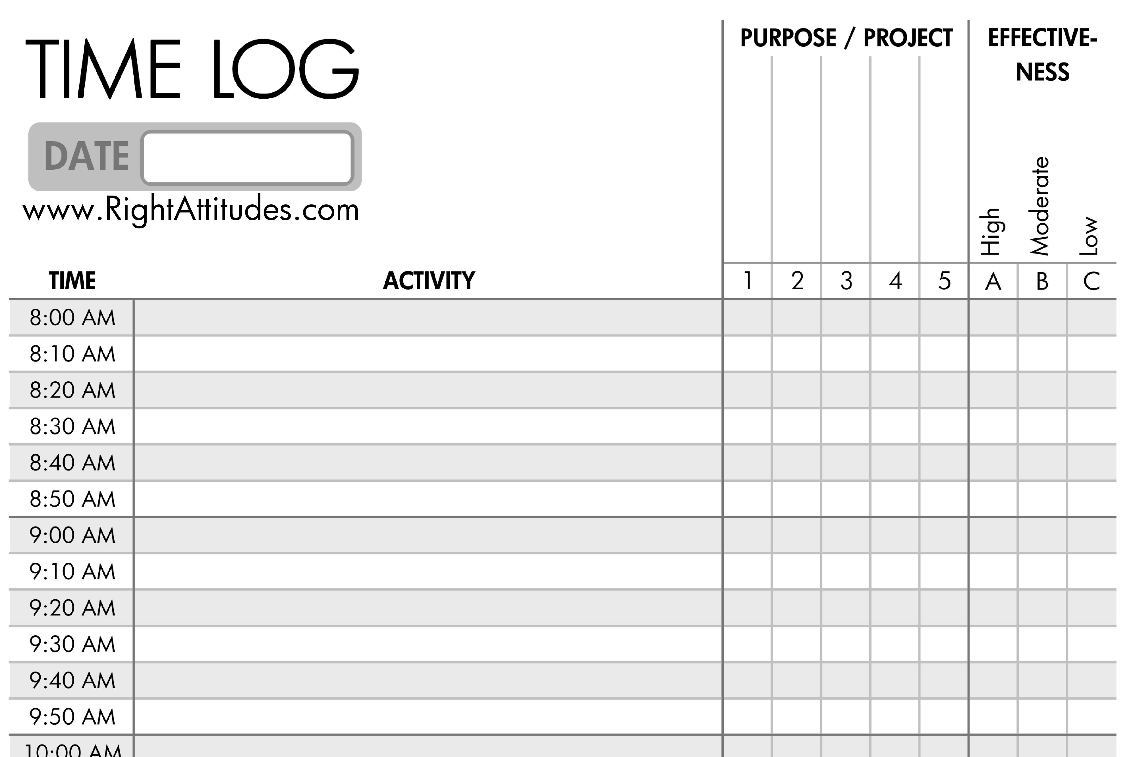 Time Management #2] Time Logging: Log Where Your Time Actually Goes - Time Management Forms Free Printable