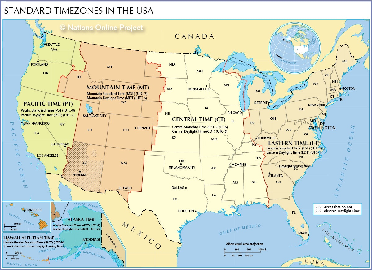 Time Zone Map Of The United States - Nations Online Project - Free Printable Us Timezone Map With State Names