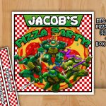 Tmnt Pizza Box Label Personalized Printable Teenage Mutant | Etsy – Free Printable Tmnt Food Labels