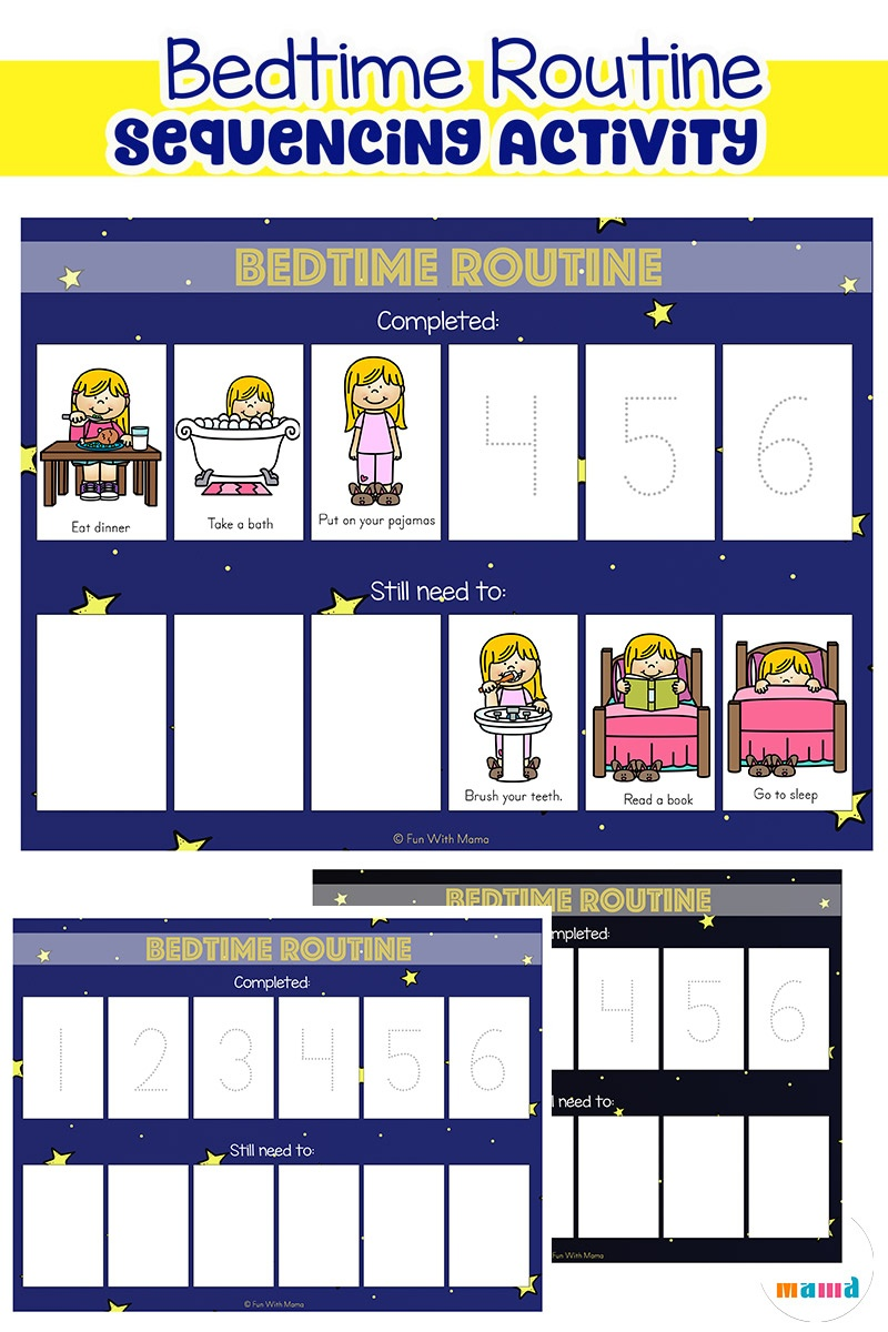 Toddler Bedtime Routine Chart Sequencing Activity - Fun With Mama - Free Printable Bedtime Routine Chart