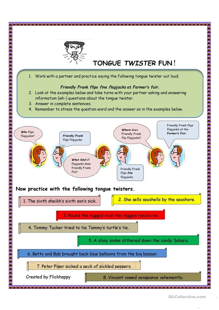 Tongue Twister Fun Worksheet - Free Esl Printable Worksheets Made - Free Printable Tongue Twisters