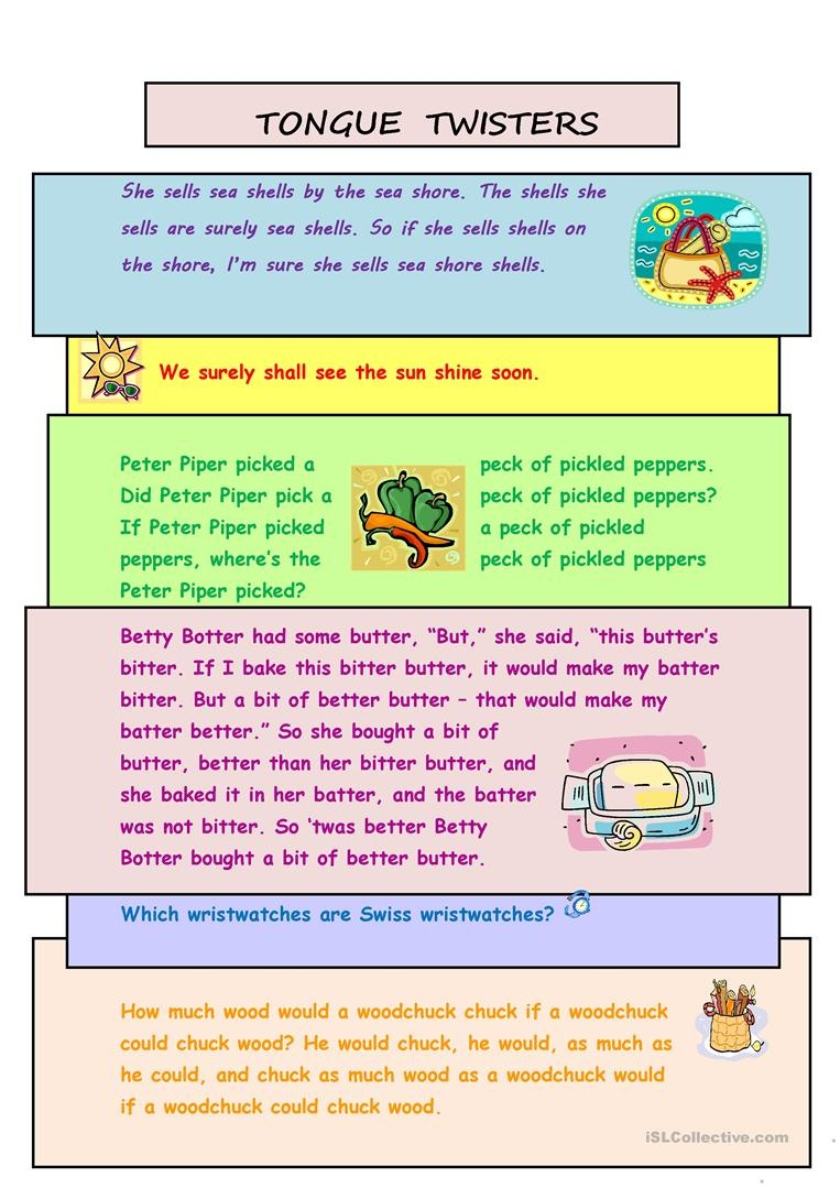 Tongue Twisters Worksheet - Free Esl Printable Worksheets Made - Free Printable Tongue Twisters