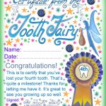 Tooth Fairy Certificate: Award For Losing Your Fourth Tooth   Free Printable Tooth Fairy Certificate