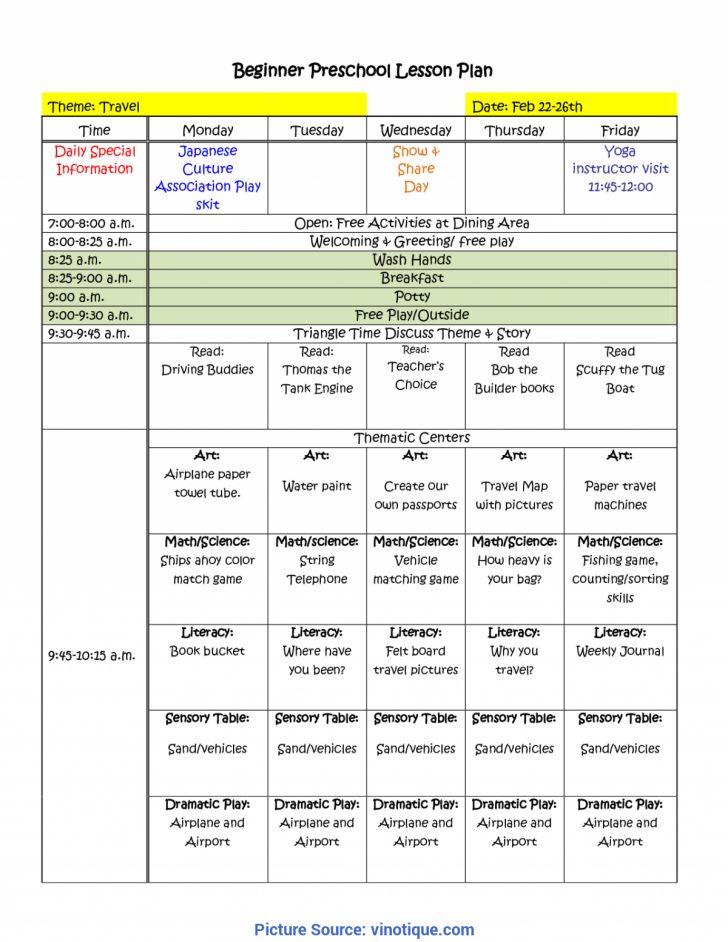 Free Printable Preschool Lesson Plans