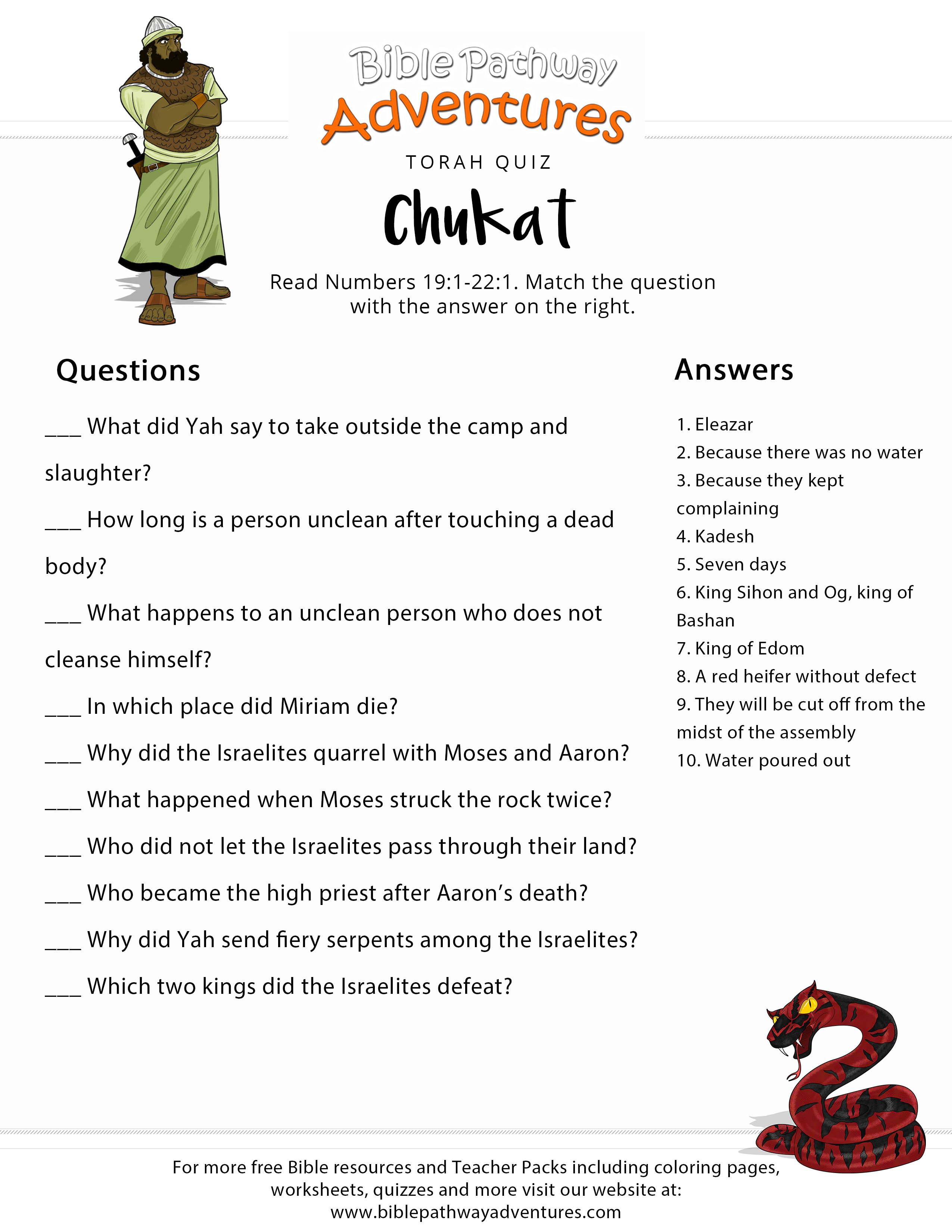 Torah Portion Quiz: Chukat (Numbers 19:1-22:1) | Bible Adventure - Free Printable Bible Study Lessons With Questions And Answers