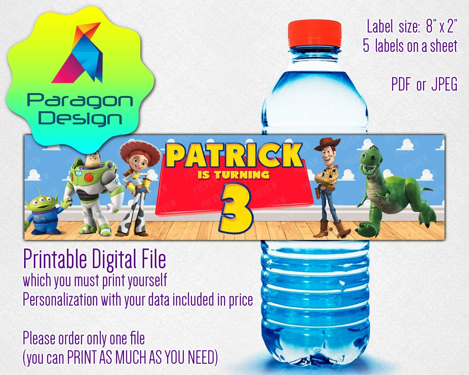Toy Story Water Bottle Labels For Boy Girl Birthday | Etsy - Free Printable Toy Story Water Bottle Labels