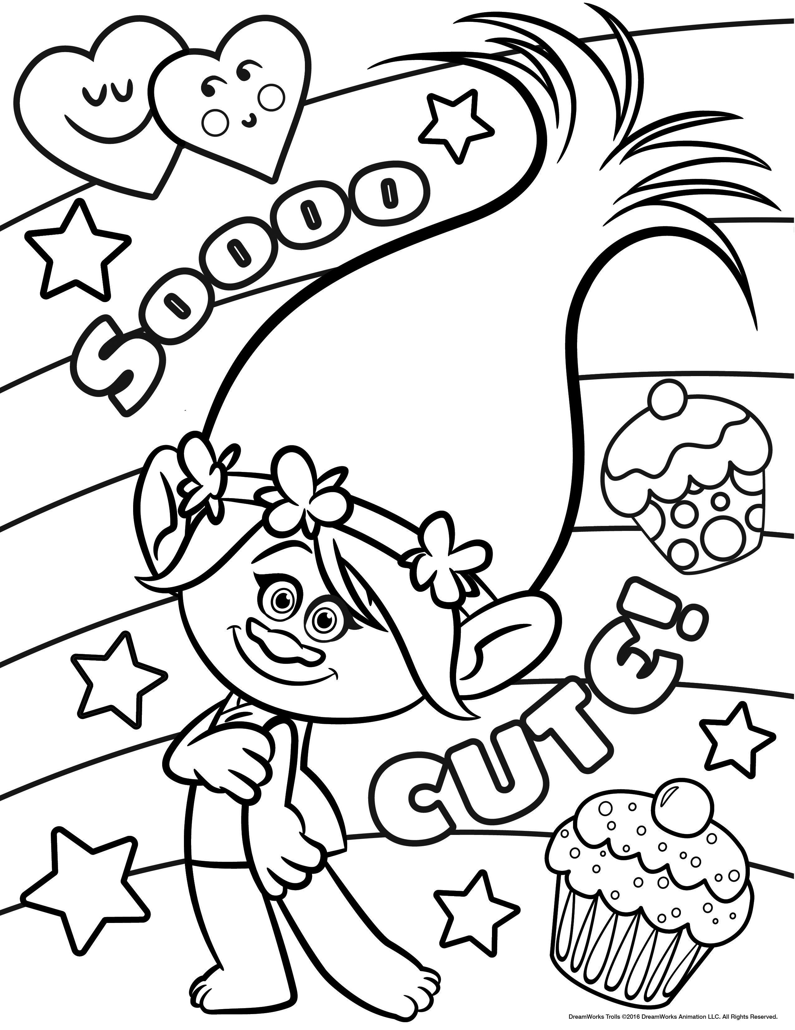 Trolls Coloring Pages | Kids | Cute Coloring Pages, Poppy Coloring - Free Printable Troll Coloring Pages