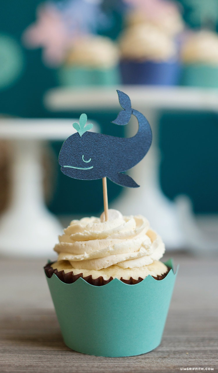 Under The Sea Cupcake Toppers And Garland - Lia Griffith - Free Printable Whale Cupcake Toppers