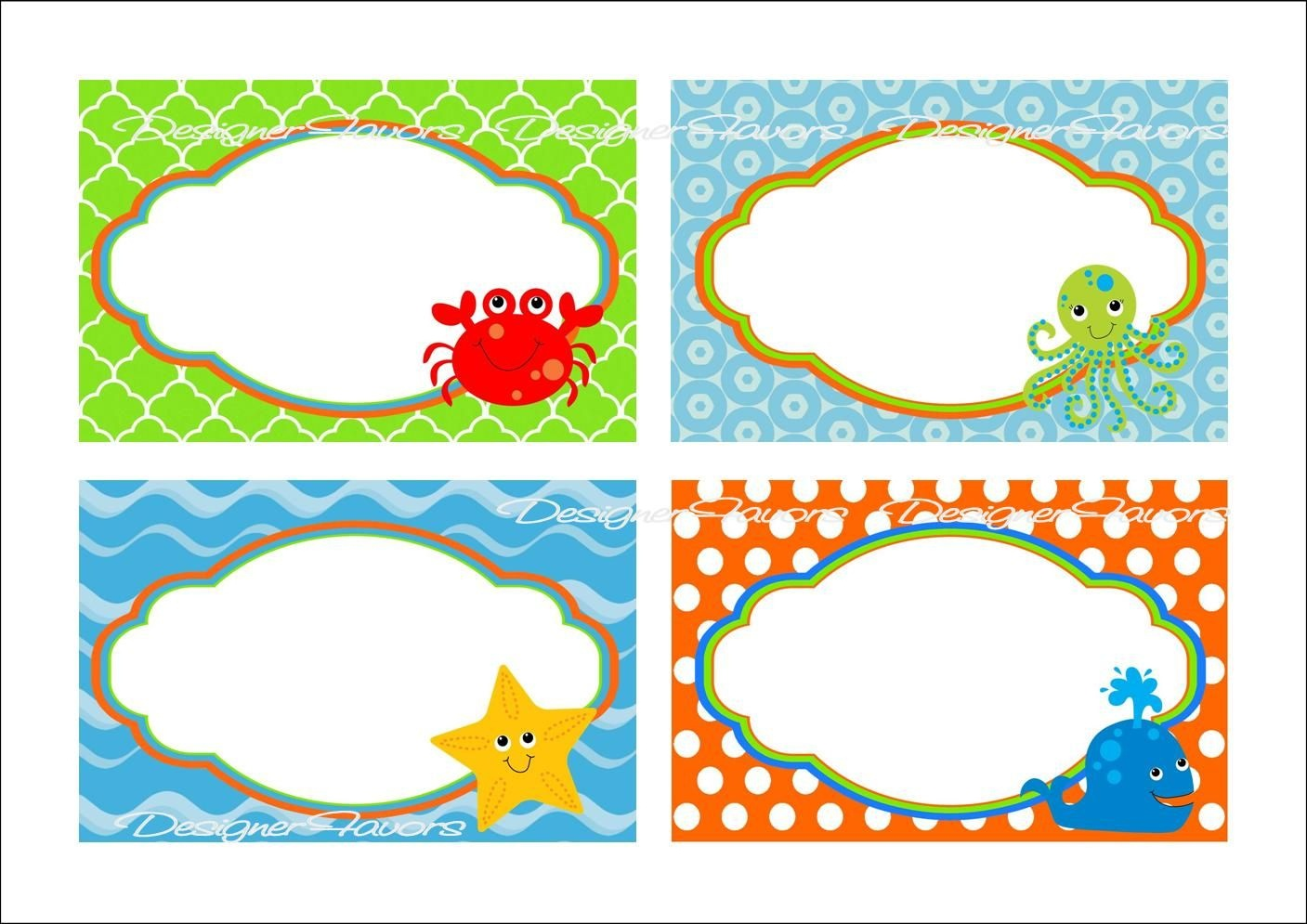 Under The Sea Food Labels Free Printable Tags - Imagestack - Free Printable Name Tags