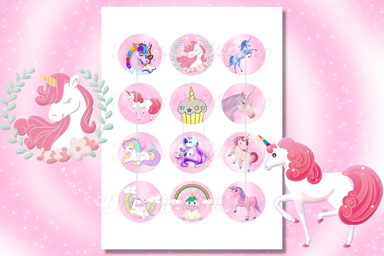 Unicorn Digital Collage Sheet, Unicorns, Unicorn Printable - Free Printable Cabochon Templates
