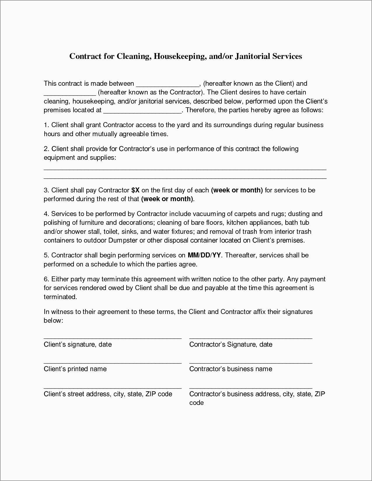 Unique Free Cleaning Service Contract Template | Best Of Template - Free Printable Service Contract Forms
