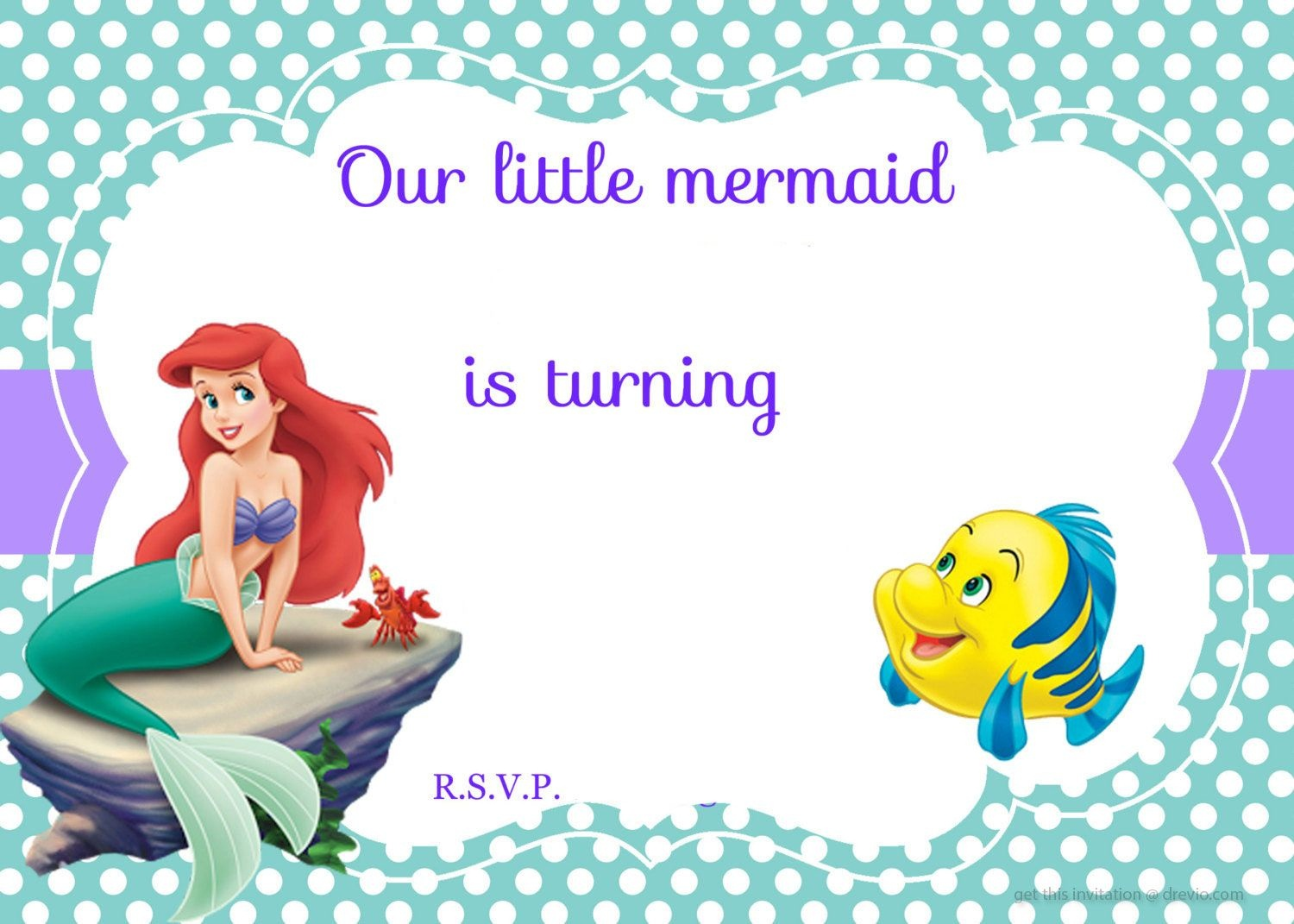 Updated! Free Printable Ariel The Little Mermaid Invitation Template - Free Little Mermaid Printable Invitations