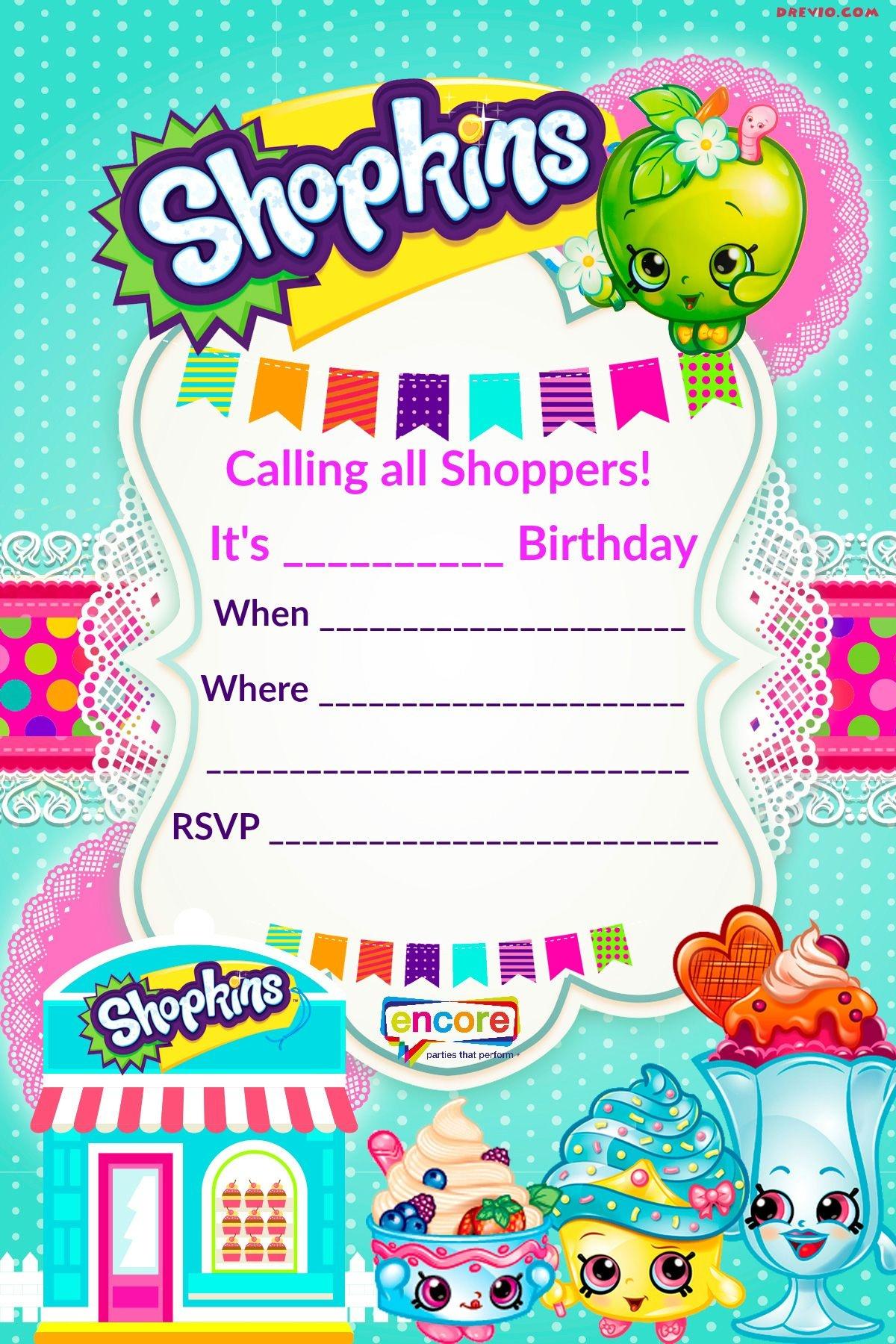 Updated - Free Printable Shopkins Birthday Invitation Template - Free Printable Birthday Invitation Templates