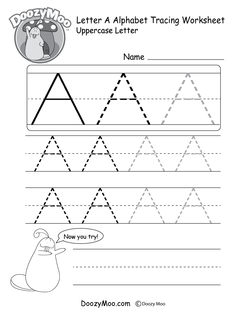 Uppercase Letter Tracing Worksheets (Free Printables) - Doozy Moo - Free Printable Name Tracing Worksheets For Preschoolers