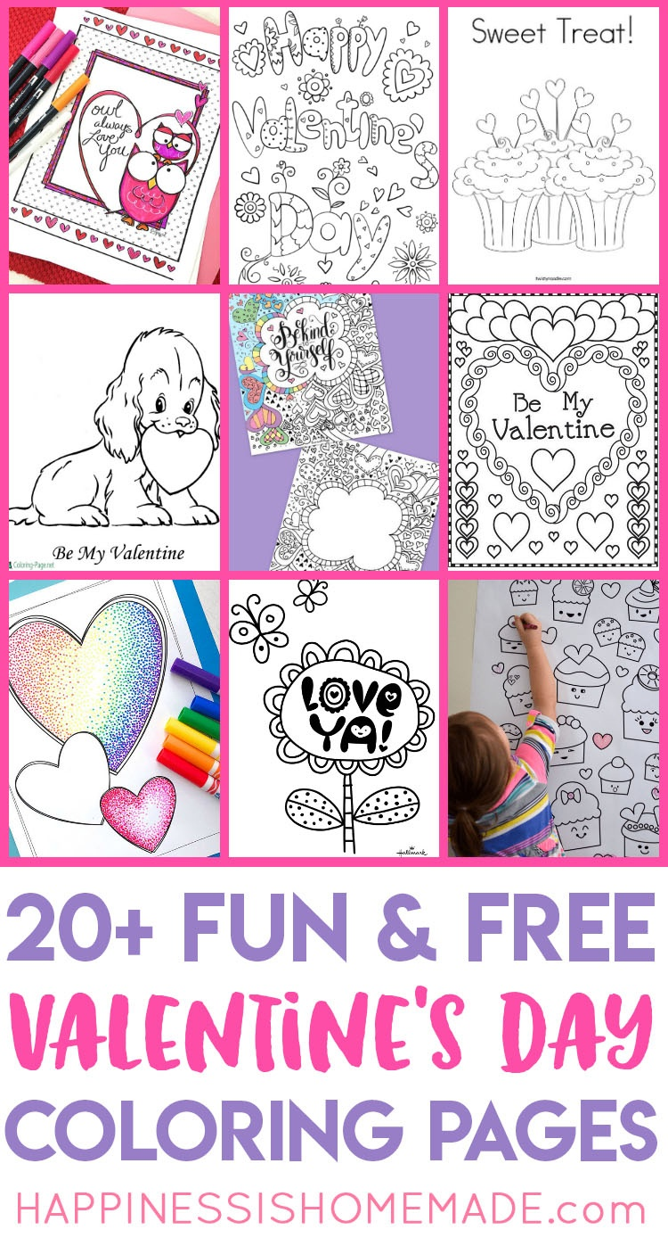 Valentines Coloring Pages - Happiness Is Homemade - Free Printable Valentine Decorations