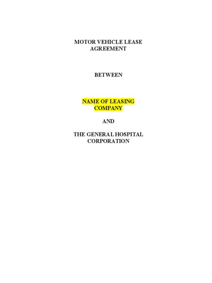 Free Printable Vehicle Lease Agreement