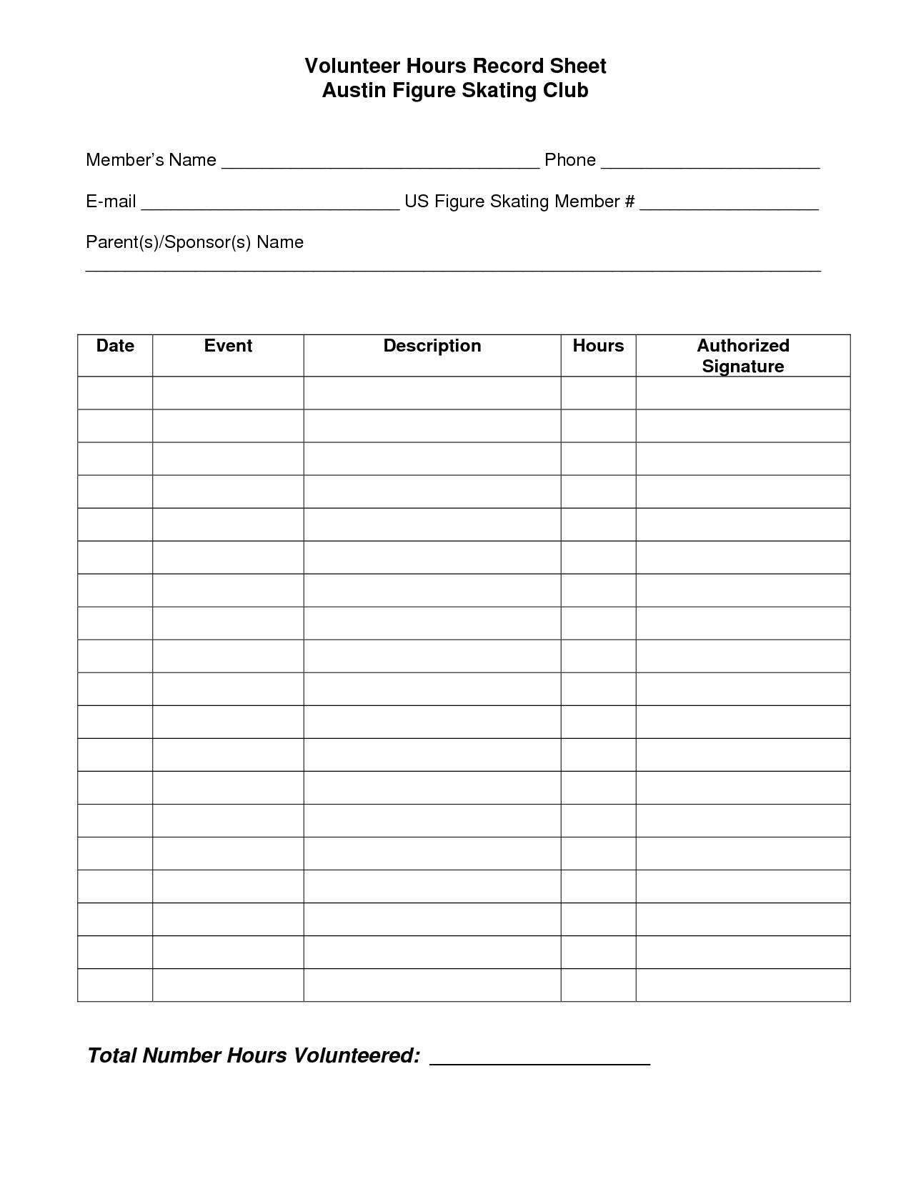 Volunteer Hours Log Sheet Template   Beta Club   Essay Writing Tips - Free Printable Community Service Log Sheet