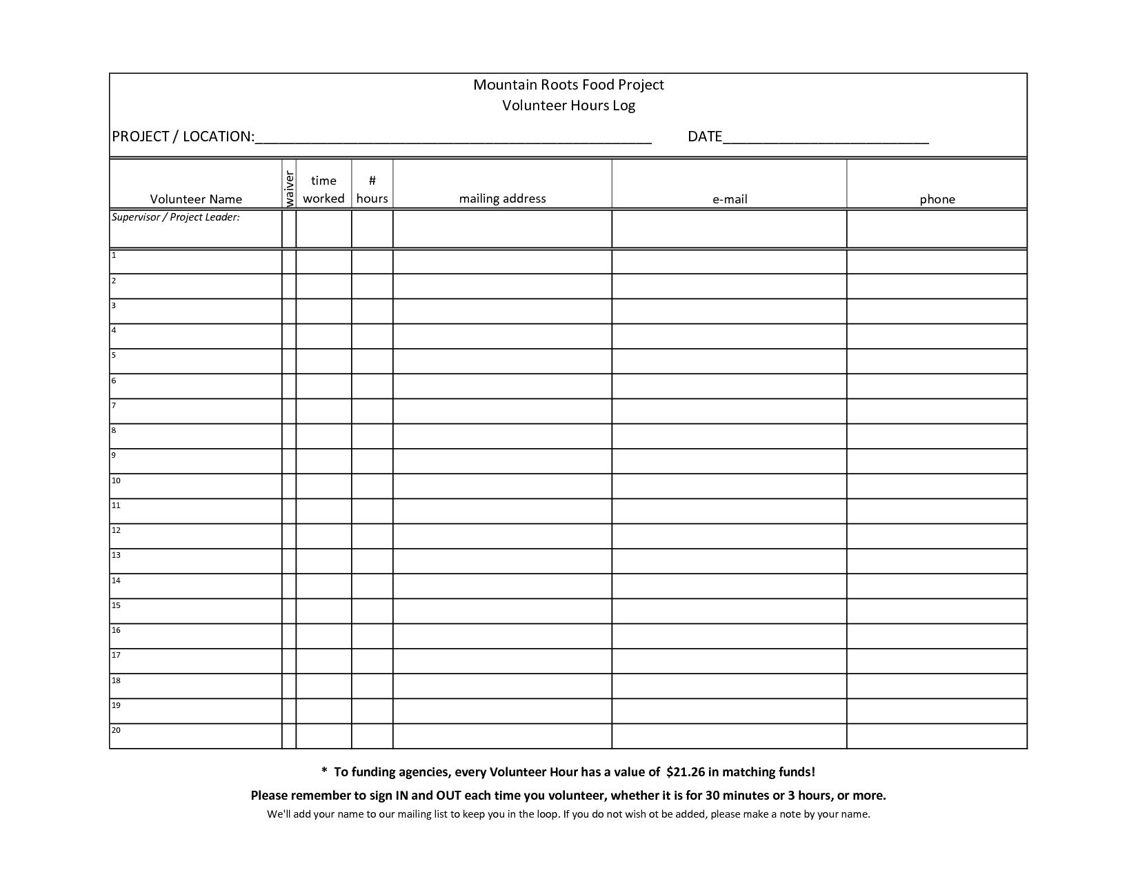 Volunteer+Hours+Log+Sheet+Template | Fara Therapy Tools | Community - Free Printable Community Service Log Sheet