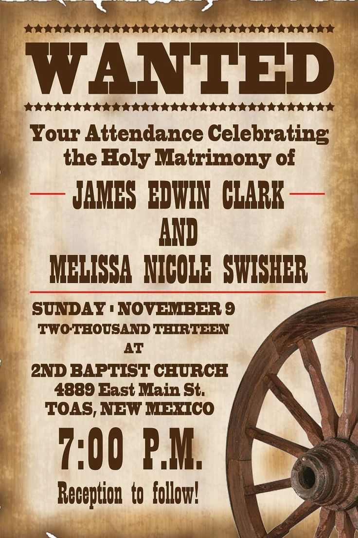 Wanted Poster Weeding Invitations | Visit Etsy Com | Invite - Free Printable Wanted Poster Invitations