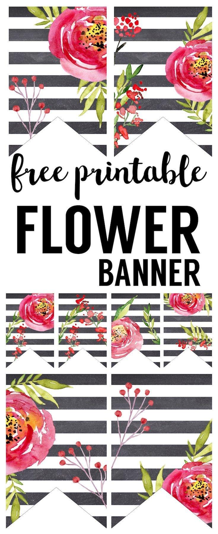 Watercolor Flower Banner Free Printable | Planner Printables - Free Printable Wedding Decorations