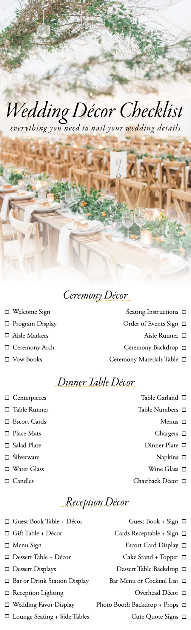 Wedding Decoration ~ Wedding Decor Checklist Pdf Wedding Decoration - Free Printable Wedding Decorations