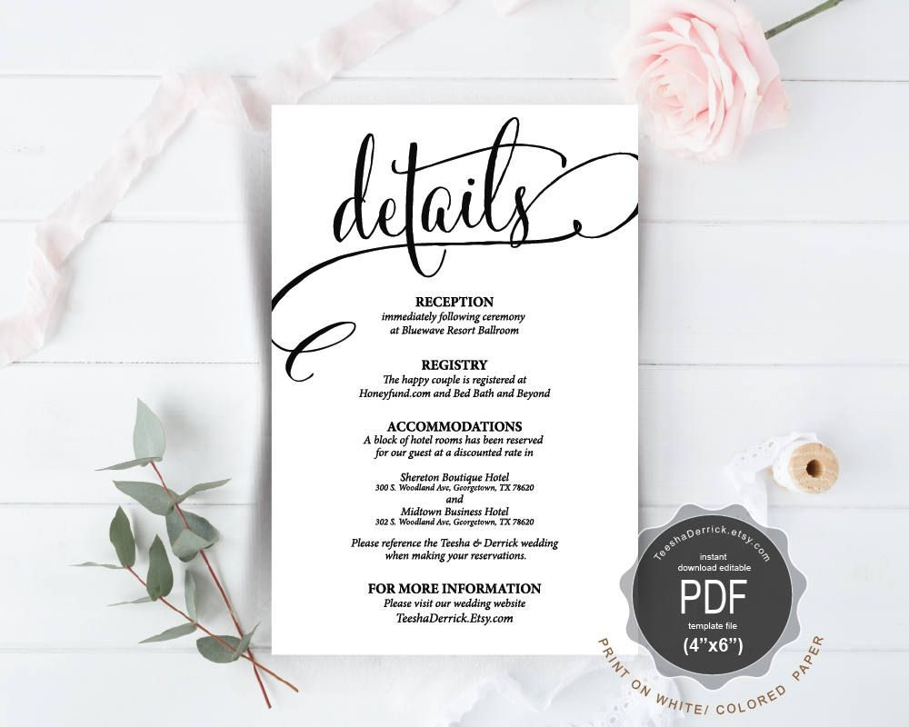 Wedding Details Card Pdf Template, Instant Download Printable - Free Printable Wedding Inserts