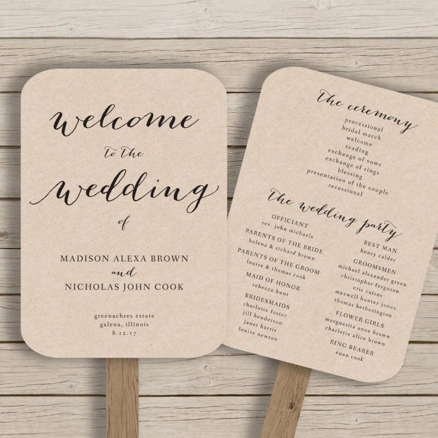 Wedding Program Fan Template - Printable Rustic Wedding Fan - Free Printable Fan Wedding Programs