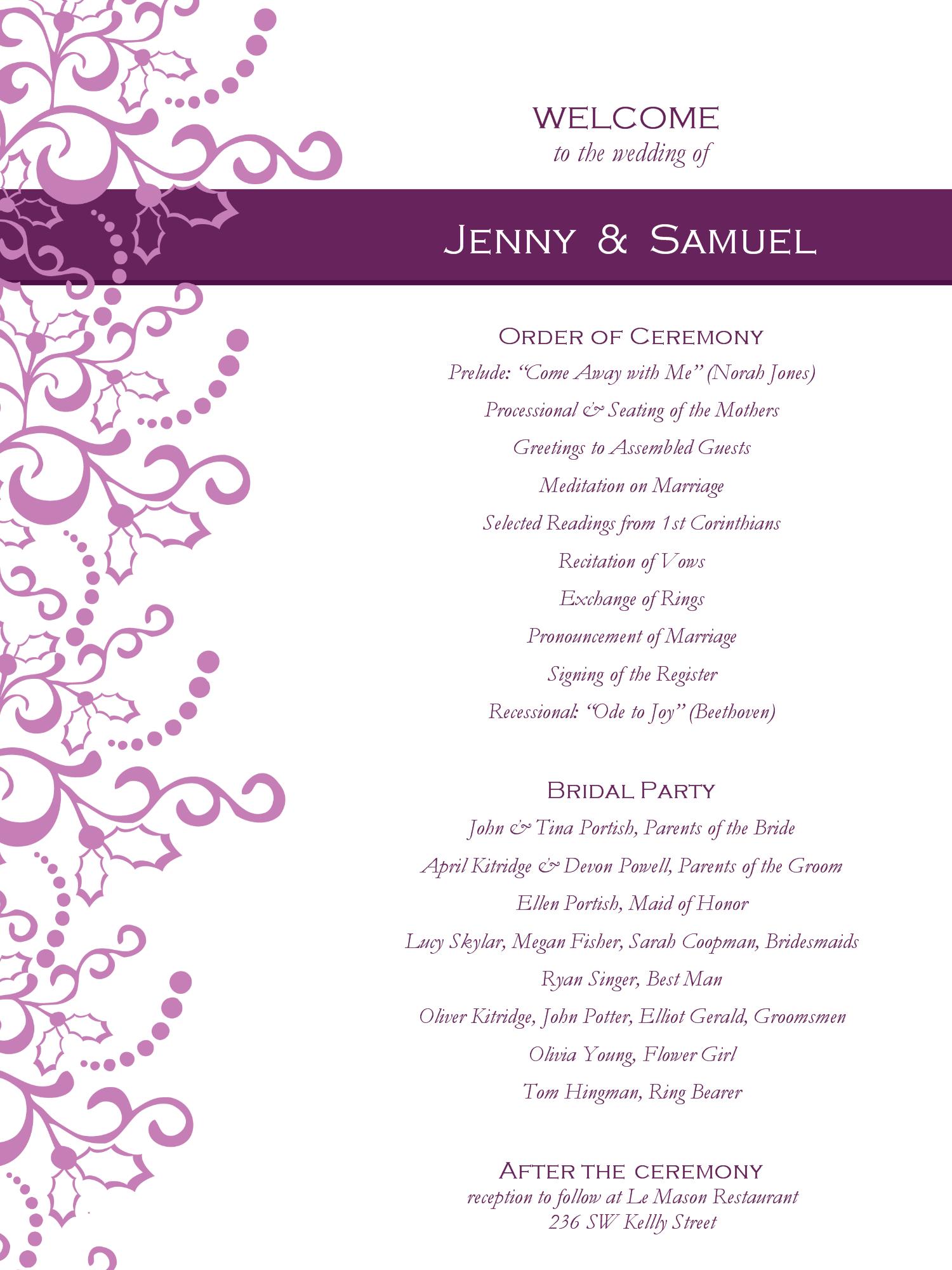 Wedding Program Templates Free | Weddingclipart | Wedding - Free Printable Wedding Program Templates