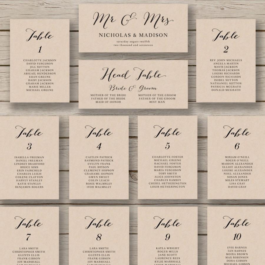Wedding Seating Chart Template - Printable Seating Chart - Editable - Free Printable Wedding Seating Chart Template
