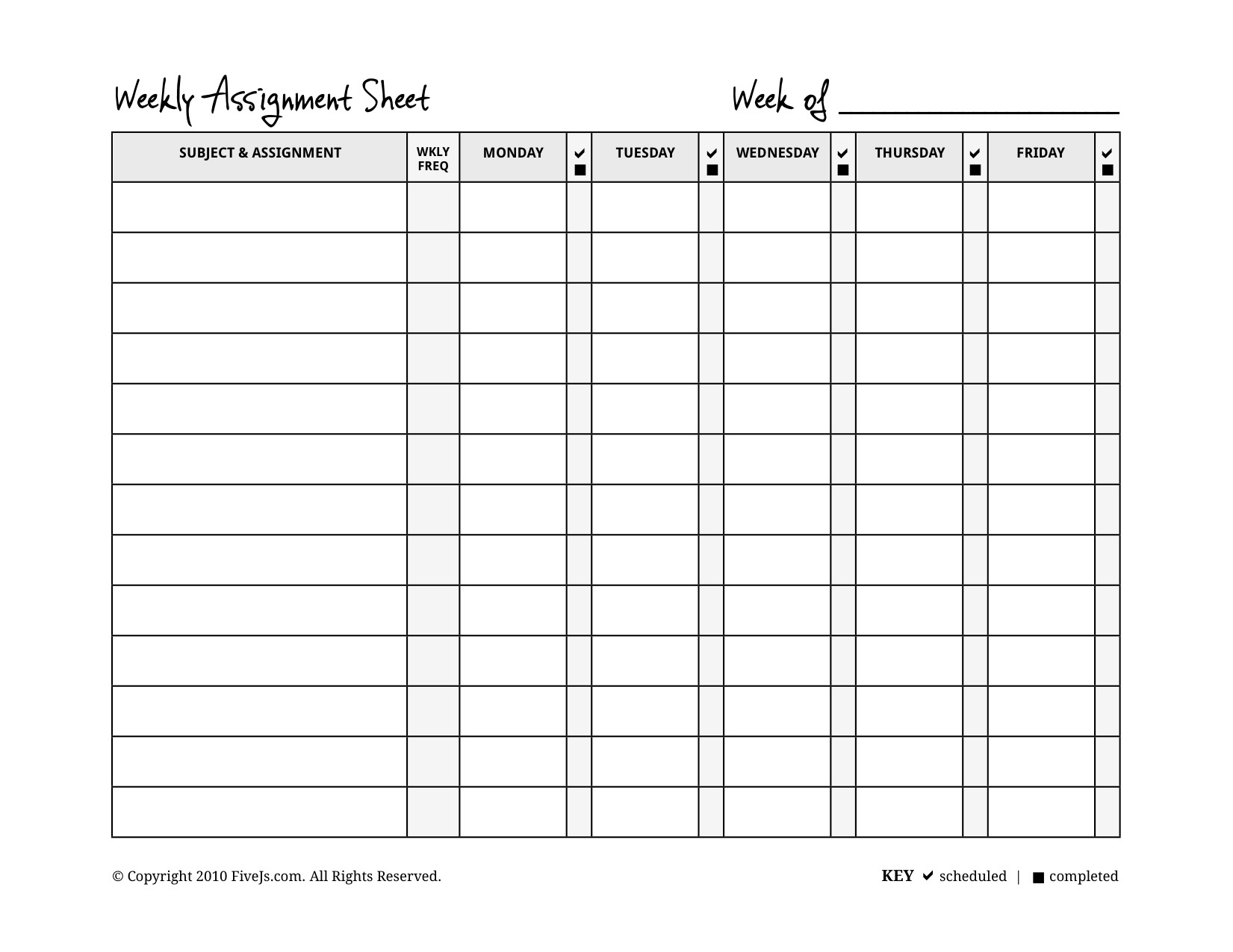Weekly Assignment Planner - Kaza.psstech.co - Free Printable Homework Assignment Sheets