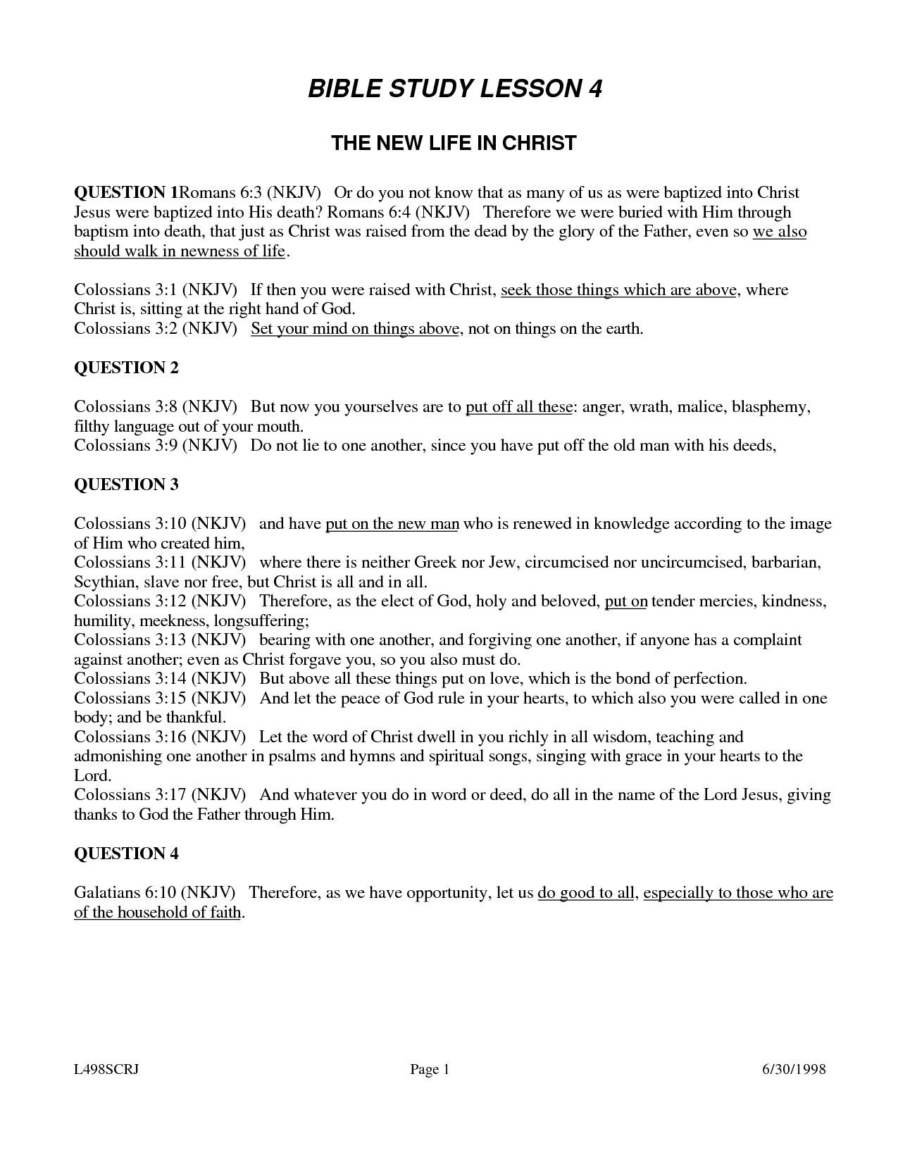 Weekly Bible Study Lesson - Free Printable Bible Study Lessons With Questions And Answers