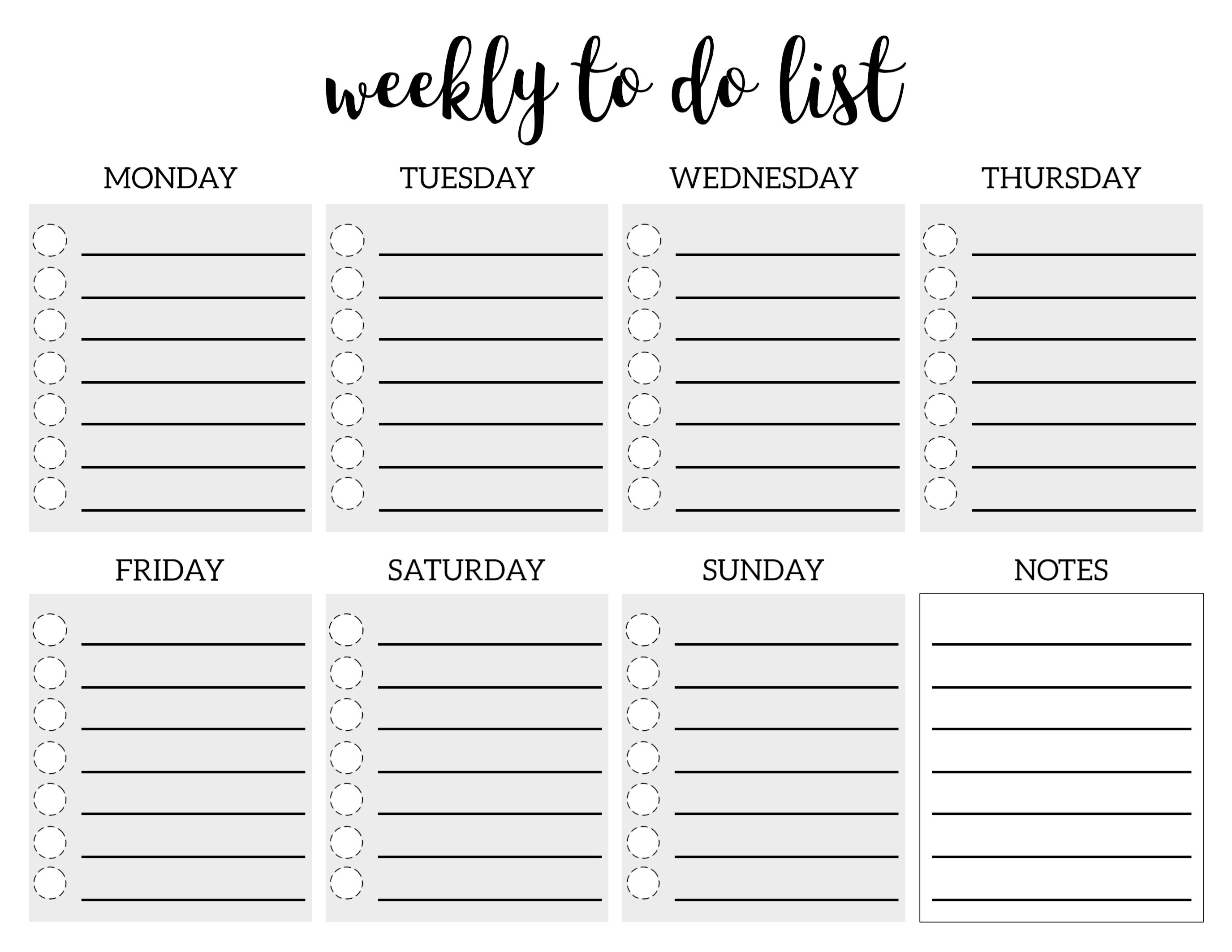 Weekly To Do List Printable Checklist Template - Paper Trail Design - Weekly To Do List Free Printable