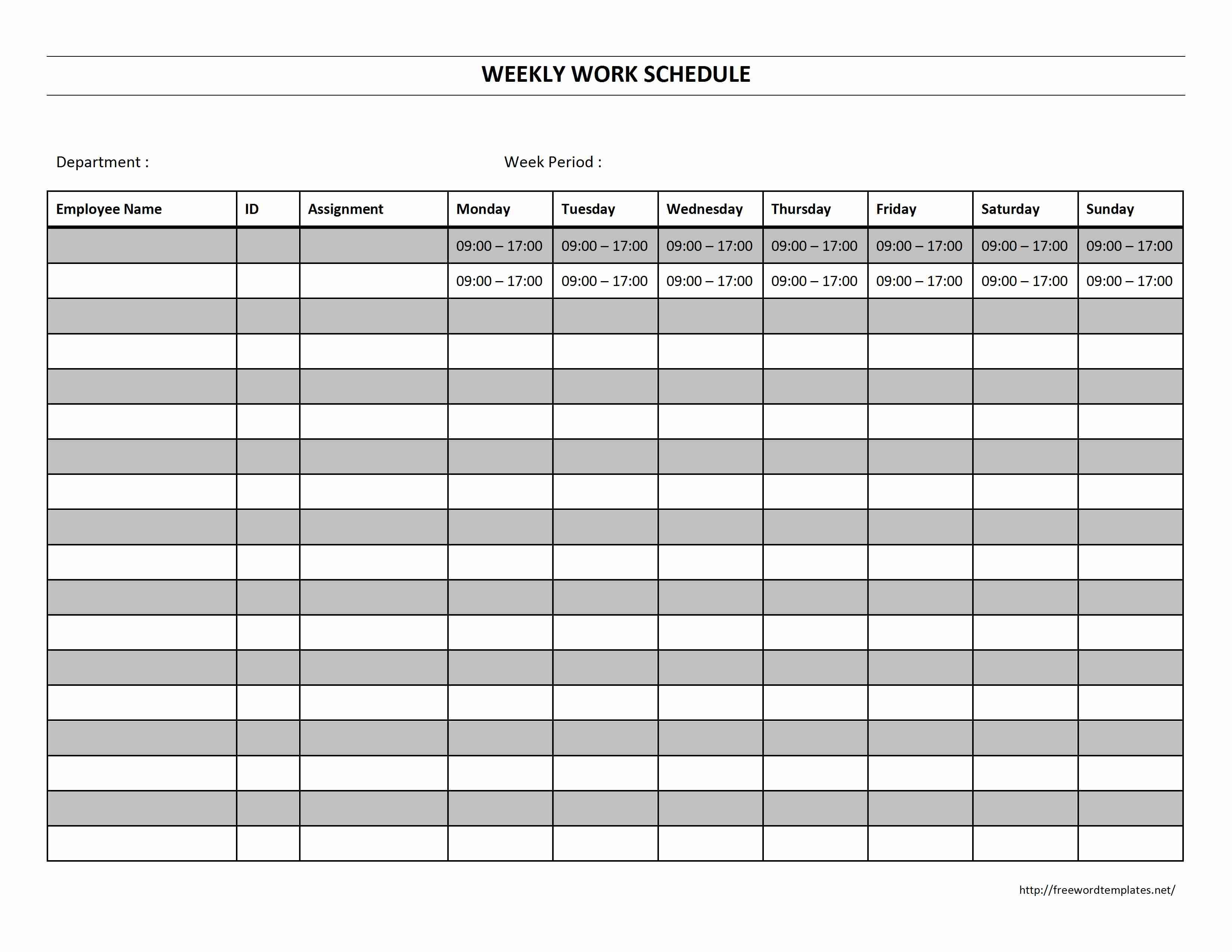 Weekly Work Schedule Template E Printable Employee Sample Plan Excel - Free Printable Weekly Work Schedule