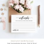 Well Wishes Printable, Wedding Advice Card Template For Newlyweds   Free Printable Bridal Shower Advice Cards