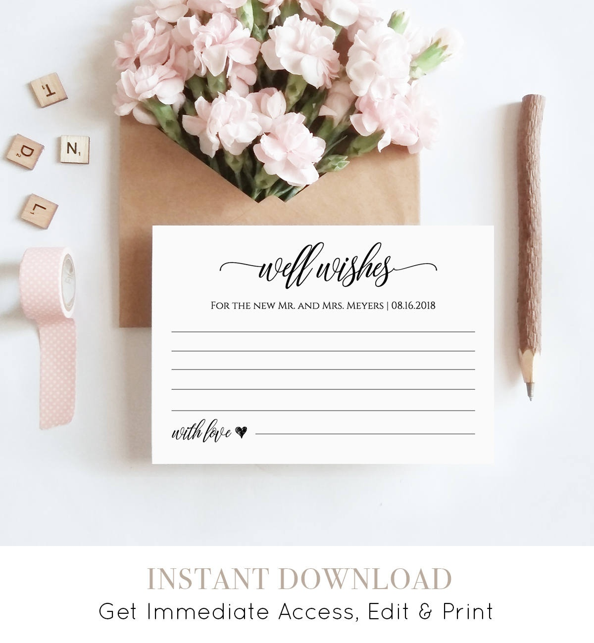Well Wishes Printable, Wedding Advice Card Template For Newlyweds - Free Printable Bridal Shower Advice Cards