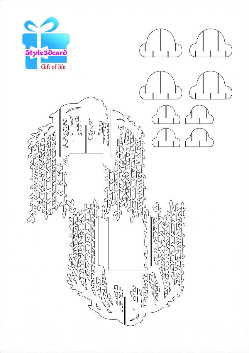 Willow Tree Pop Up Card/kirigami Pattern 2 | Pop Up Cards | Pop Up - Free Printable Kirigami Pop Up Card Patterns