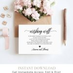 Wishing Well Insert Card Printable, 100% Editable, Instant Download   Free Printable Wedding Inserts