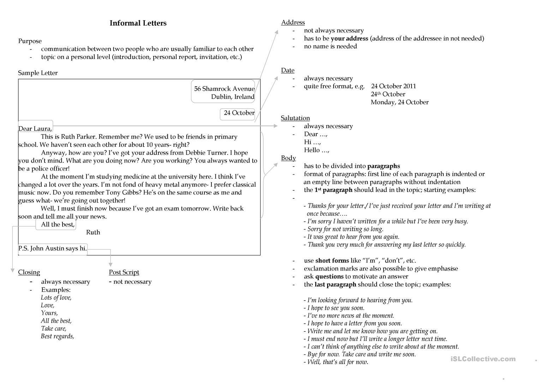 Writing An Informal Letter Worksheet - Free Esl Printable Worksheets - Free Printable Letter Writing Worksheets